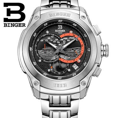 宾格BINGER手表石英表三眼跑秒计时码表西藏穿越时尚运动男士手表