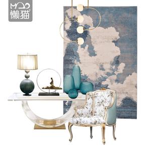 现代简约地毯新中式轻奢样板房客厅茶几卧室床边垫长方形蓝色渐变