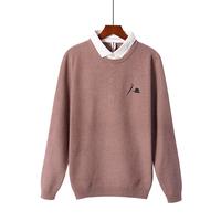 毛衣男装秋冬款韩版假两件打底衬衫领#7006潮流修身打底针织衫