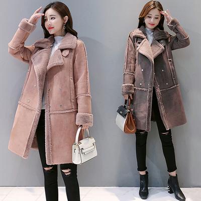 2018冬季新款女装韩版宽松加厚棉袄中长款羊羔毛外套鹿皮绒棉衣女