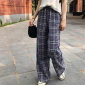 松紧腰复古学生格子裤 女休闲阔腿裤 百思朵垂感拖地长裤 子夏季薄款图片