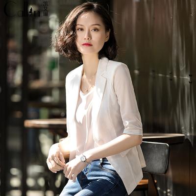 小西装外套女夏季新款休闲修身短款百搭韩版薄款雪纺西服蕾丝上衣