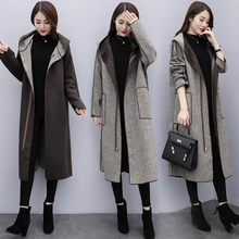Qianbi Chequered Wool Coat Female Spring and Autumn 2019 New Korean Version Medium and Long Dual-sided Wool Needle Coat