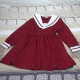 MMM Rigorous Butterfly Water-coloured Long-sleeved Dresses Daily Flap Line Japanese JK Sailor Uniform