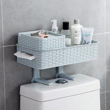 卫生间置物架浴室免打孔收纳架多功能吸壁式厕所马桶塑料置物架