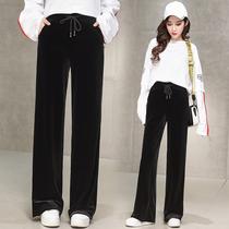 加长金丝绒长裤女170女生175高个子宽松大码松紧腰显瘦直筒阔腿裤
