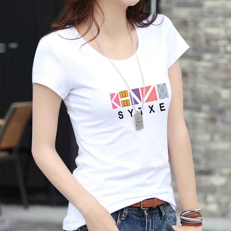 白色t恤女短袖修身纯棉2019新款韩范百搭显瘦体恤半袖紧身上衣夏