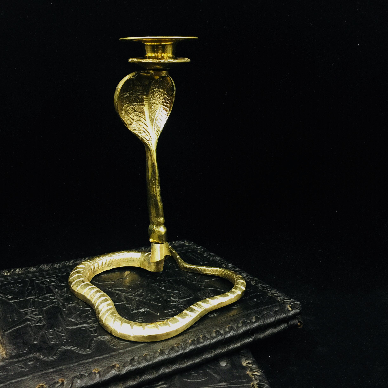 埃及复古铜蛇烛台 手工工艺 魔法祭坛仪式