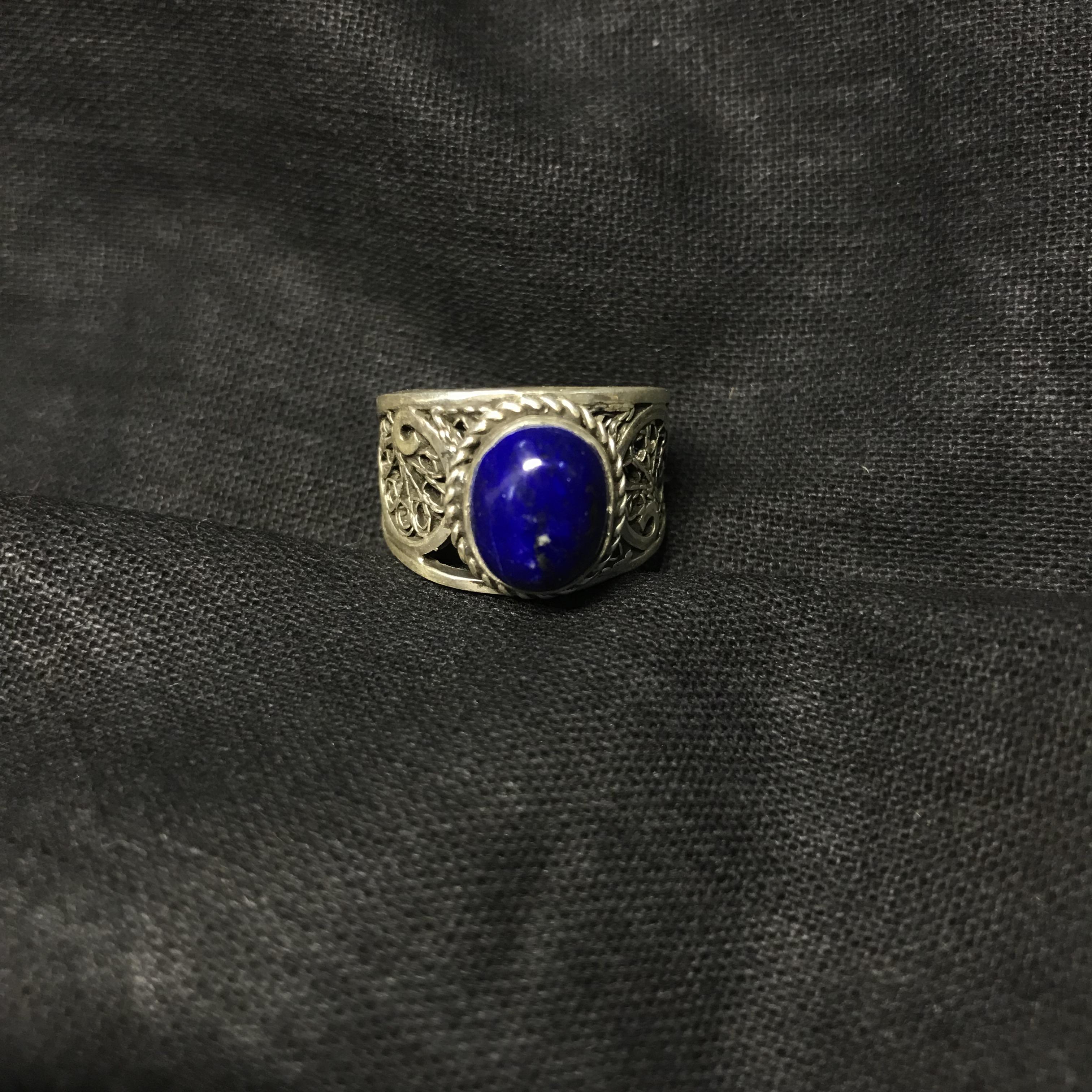 埃及银饰 青金石戒指 提升灵性 珠宝饰品定制