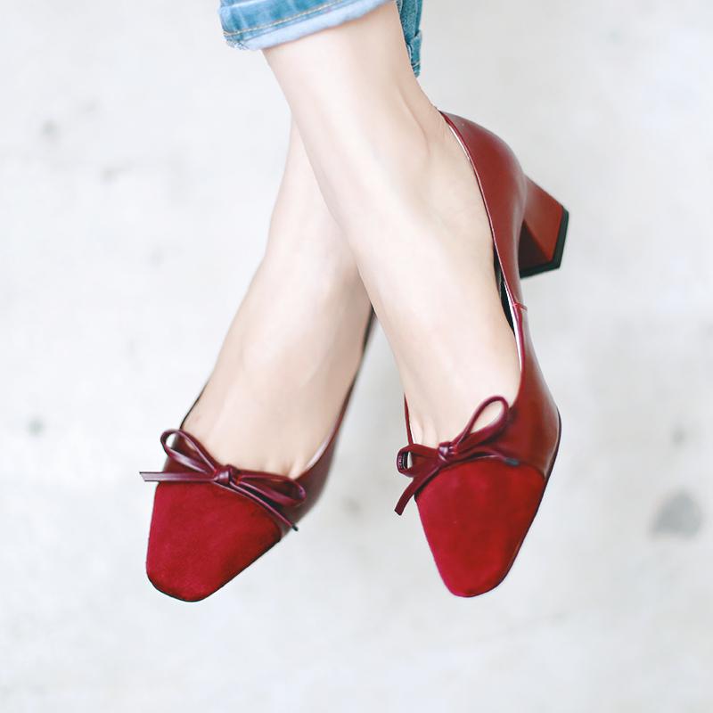 牛皮女单鞋粗跟