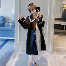 外穿上衣2019新款 时尚 孕妇外套秋季装 宽松韩版 雪纺中长款 开衫 风衣