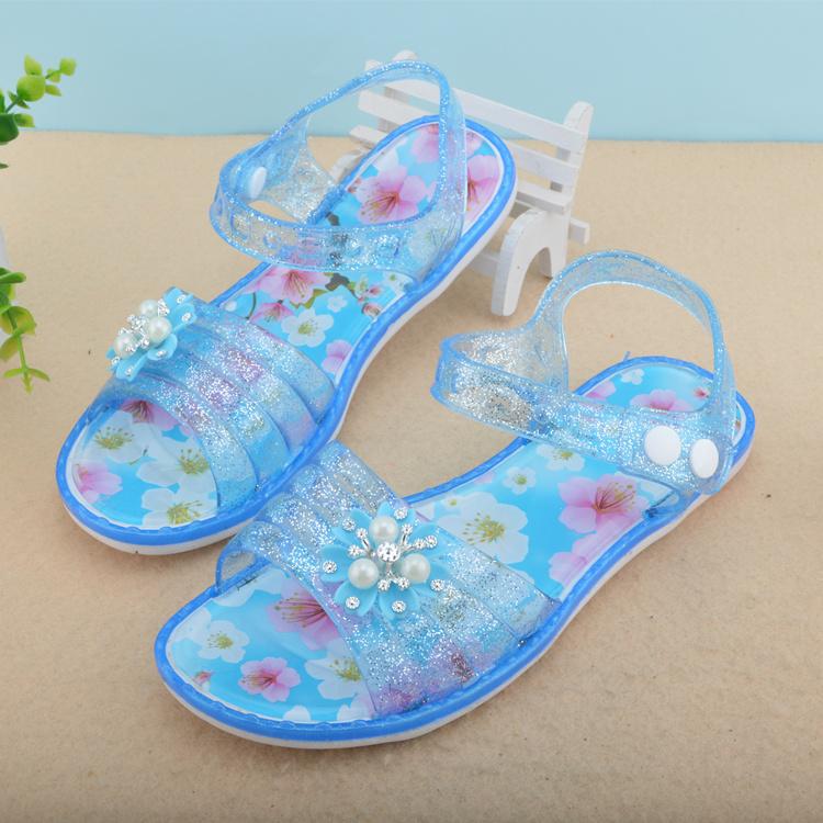 水晶女童凉鞋夏季儿童女中大童小学生9-13岁女孩公主鞋塑胶沙滩鞋