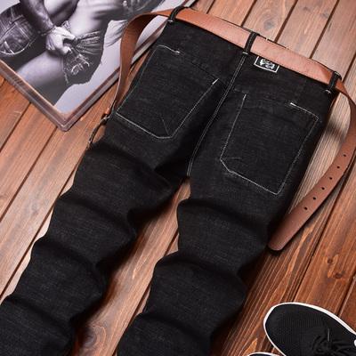 纯黑色牛仔裤男士秋冬季厚款修身直筒裤子男韩版潮流新款弹力长裤