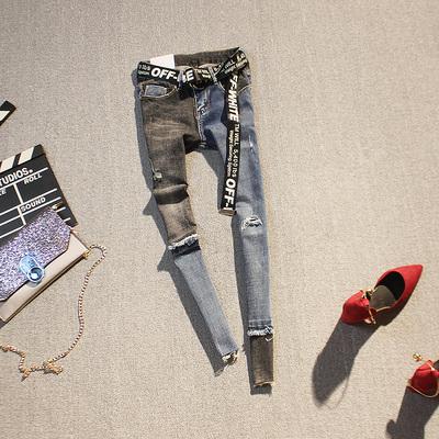 欧洲站春季新品 个性拼色破洞 时尚百搭潮女长裤小脚铅笔牛仔裤潮