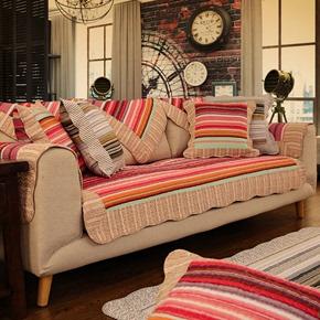 韩式布艺沙发垫子双面全纯棉条纹时尚现代实木沙发坐垫巾四季通用