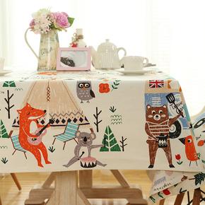 卡通棉麻桌布 韩式儿童餐桌书桌布艺盖布小清新田园台布茶几布