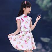 女童夏季旗袍中国风儿童大童小女孩唐装连衣裙幼儿公主裙夏装薄款
