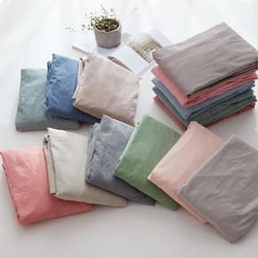 水洗棉纯色双人床笠单件 简约纯棉床单素色全棉单人格子床罩单品