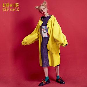妖精的口袋旗舰店春季韩版长款宽松大码廓形带帽毛呢外套女大衣