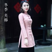茶人服女秋冬唐装小棉袄女冬装夹棉禅修服茶艺服装中国风外套加厚