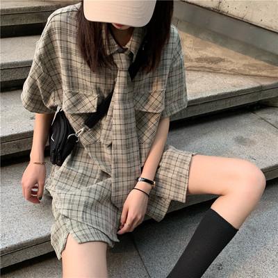 2019新款潮洋气宽松夏季套装女装格子阔腿裤短裤两件套时尚气质女