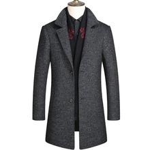 加厚可脱卸围巾领无羊绒呢子外套 2018冬季羊毛呢大衣中年男中长款图片