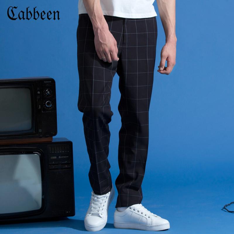 格子小脚西裤