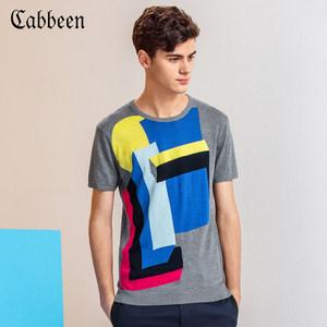 卡宾男装撞色几何提花针织衫休闲夏季圆领纯棉套头短袖T恤线衫