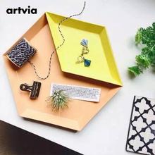 artvia 北欧半岛 多边形桌面组合收纳托盘几何菱形金属六边形果盘