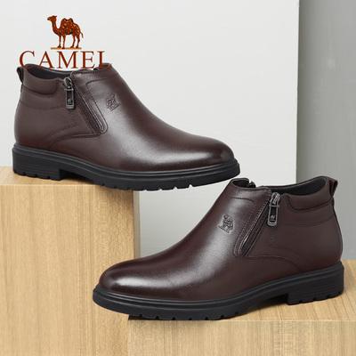 骆驼男鞋 2018 冬季新款商务皮靴子休闲高帮潮流拉链牛皮套脚鞋