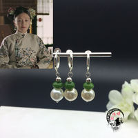 嬛珠阁 纯银耳夹古风耳耳延禧攻略 Qin岚Fucha Queen with the earrings pearl earrings