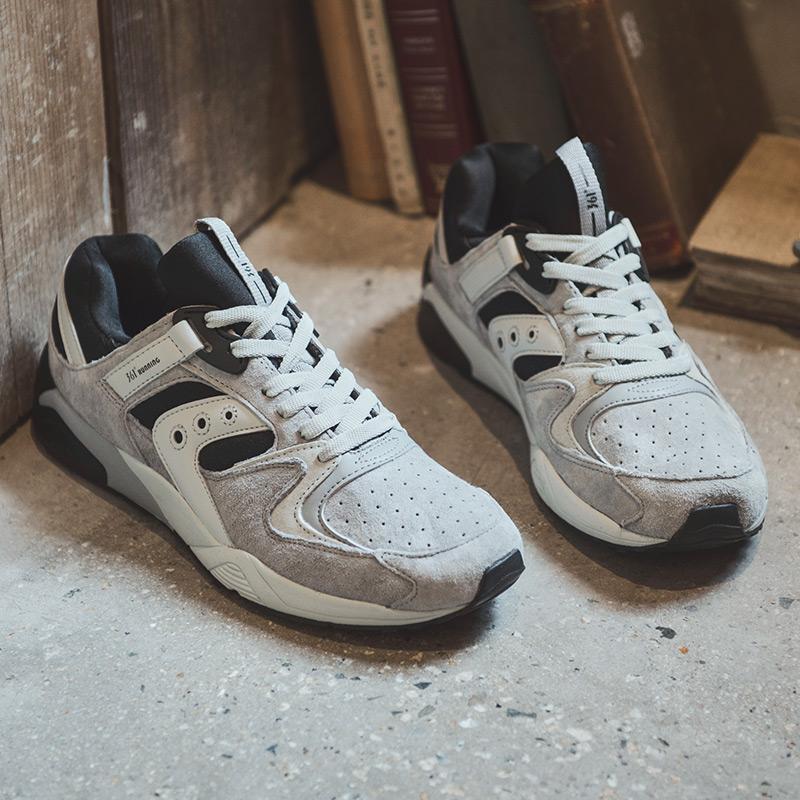 361男鞋复古跑鞋春季运动鞋男361度熊猫鞋减震反绒皮阿甘跑步鞋