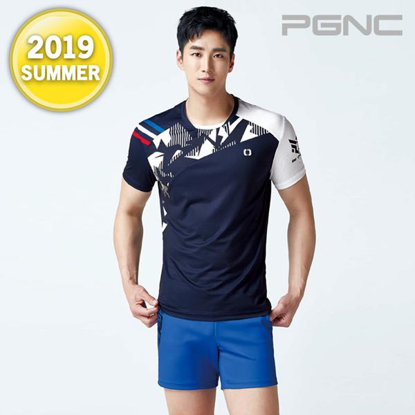 2019热夏新品韩国PGNC羽毛球服PEGGY男佩极酷速干短袖吸汗套装A4