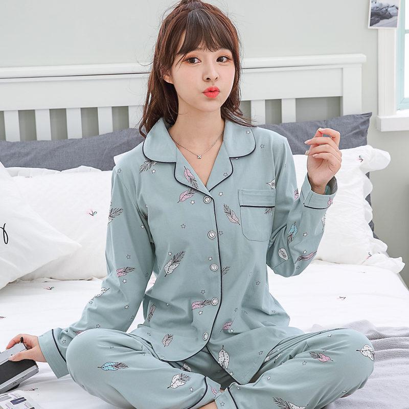 睡衣女春秋长袖100%全纯棉可爱韩版男士夏薄款加大情侣家居服套装