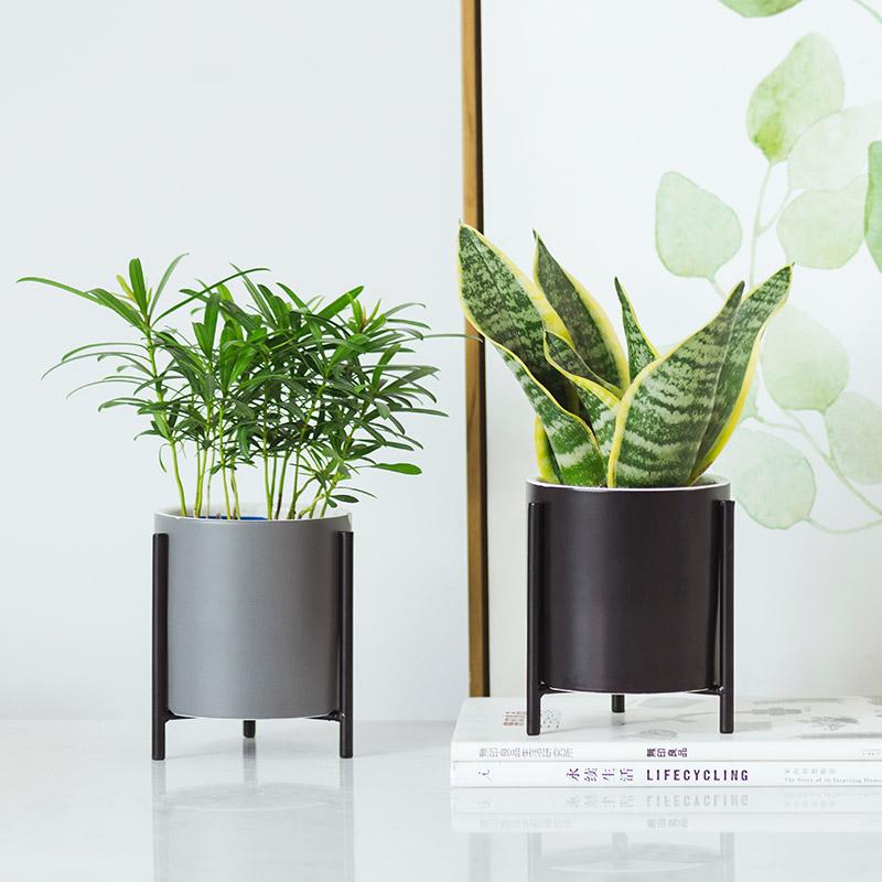 北欧简约铁艺陶瓷花盆现代室内个性创意家居多肉绿萝花盆盆栽摆件