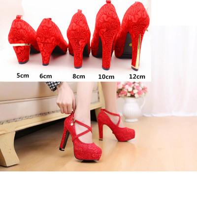 超高跟春季新款女单鞋大红色婚鞋新娘结婚敬酒礼服绑带小码蕾丝绿