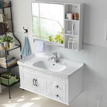 浴室柜组合洗脸盆柜洗手盆柜卫浴柜面盆台盆柜洗漱台现代简约PVC