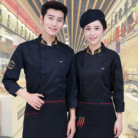 Chef overalls short-sleeved summer thin section breathable male Chinese style increase hotel kitchen canteen chef clothes black