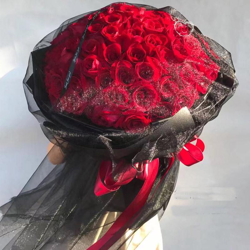 长沙鲜花速递99黑纱玫瑰花束株洲郑州西安鲜花店杭州武汉鲜花同城