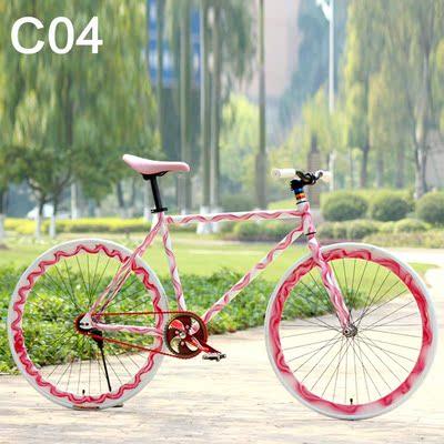 死飞自行车男女式成年人学生单车24/26寸倒刹实心胎公路车赛车