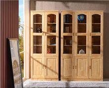 实木家具 全柏木书柜子书架 储蓄柜立柜 隔柜 玻璃门柜二/三/五门