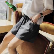棉麻短裤女夏2018新款高腰显瘦韩版宽松百搭休闲阔腿亚麻热裤学生