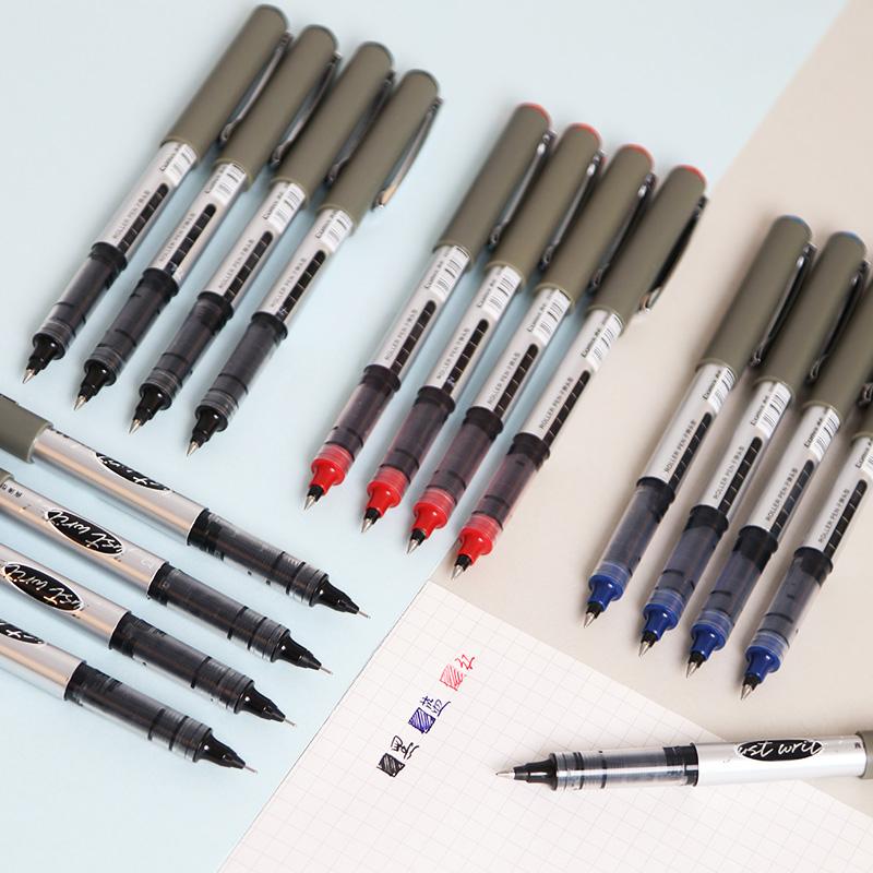 齐心直液式针管型速干水笔学生用考试中性笔商务办公签字笔走珠笔