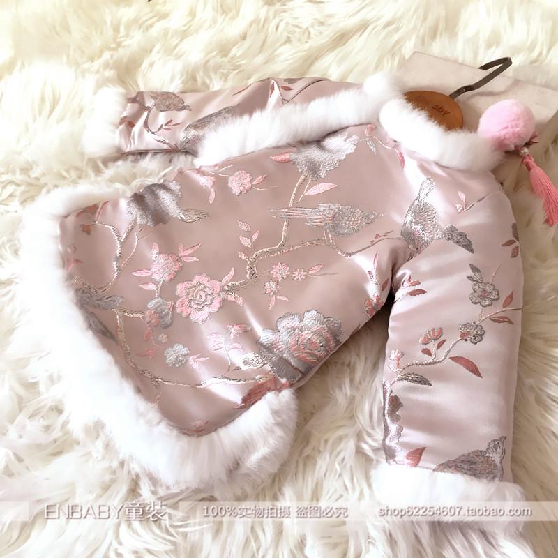 女童新年装公主裙韩版加绒加厚百周岁裙女宝宝兔毛长袖旗袍连衣裙
