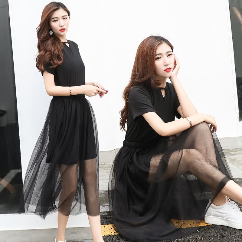 短袖假两件长纱裙