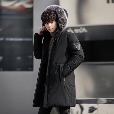 【高品质羽绒服】新款男中长款冬季外套男士羽绒棉服潮流修身加厚