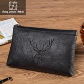 圣雅曼新款男士手拿包真皮信封包大容量手抓包牛皮时尚休闲手包