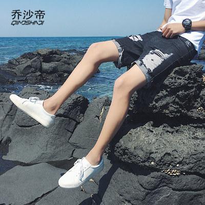 夏季破洞牛仔短裤男潮流韩版帅气学生五分裤乞丐学生牛子短裤男装