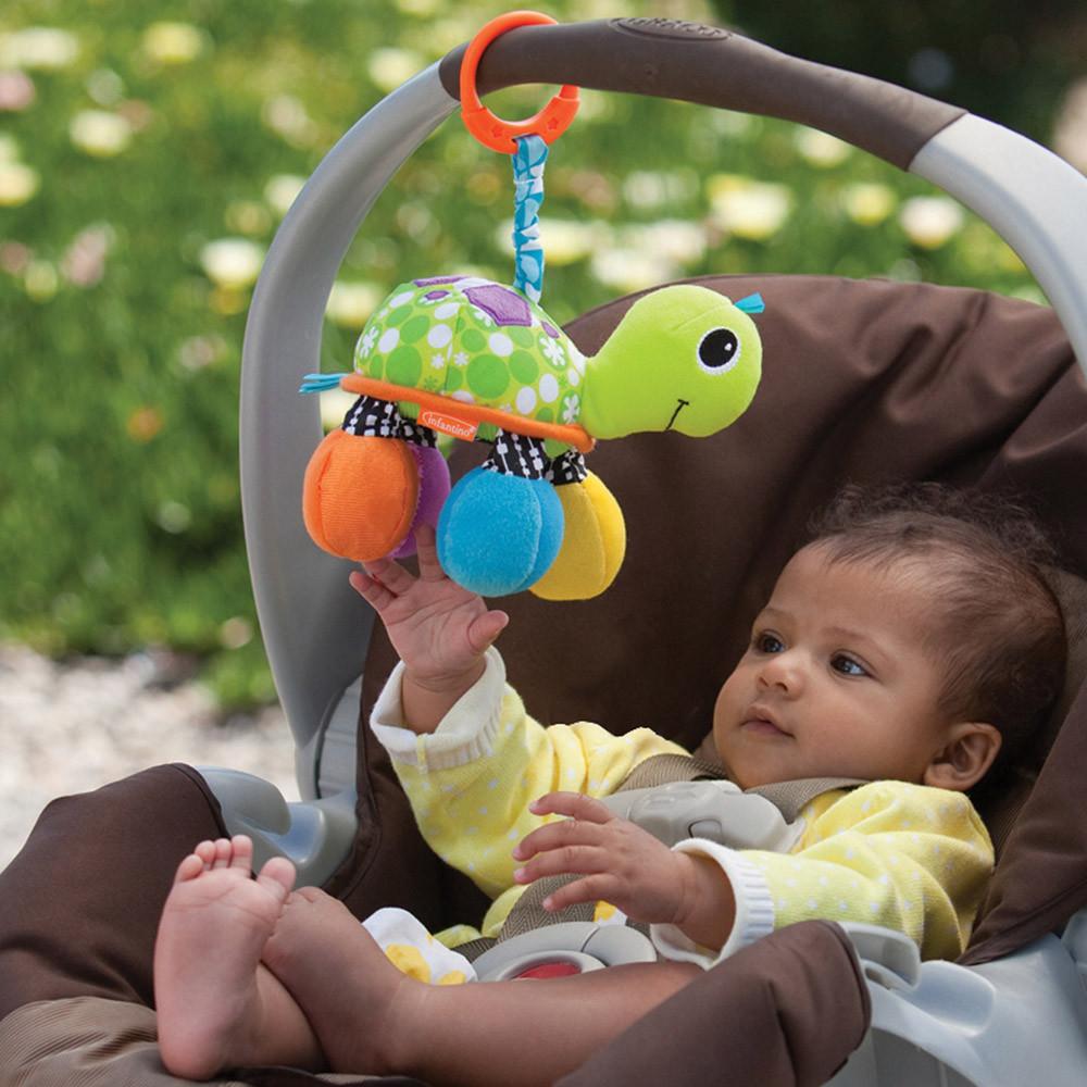infantino美国婴蒂诺海龟镜子拨浪鼓益智摇铃探索色彩毛绒玩具