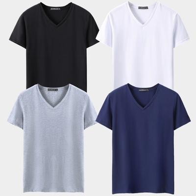 4件装夏季男短袖t恤修身V领上衣鸡心领男装大码半袖韩版休闲体恤